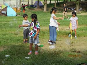 9/24(月)に花園中央公園でシャボン玉教室が開かれました。